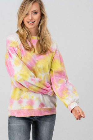 TIE DYE YELLOW & PINK SWEATER
