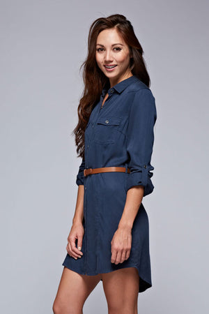NAVY TENCEL BELT DRESS