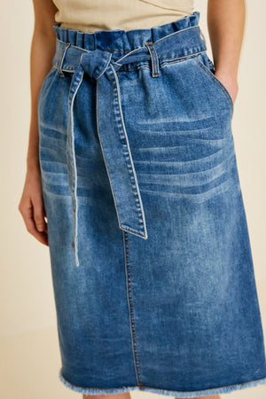DENIM PAPER BAG TIE IN FRONT SKIRT