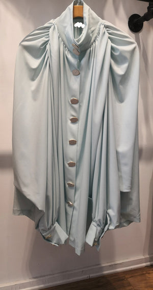 mint marble button puffy dress