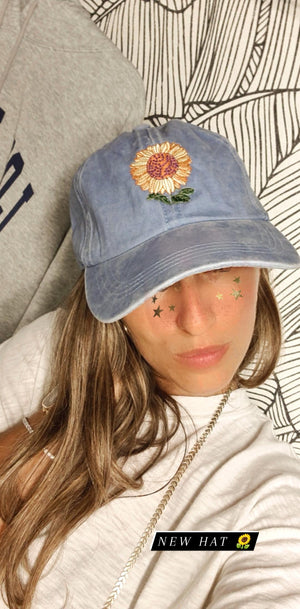 denim sunflower hat