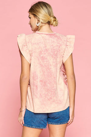 Tie dye coral ruffled pocket top