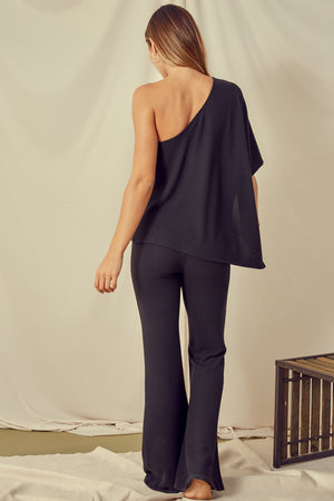 black one shoulder pants set 29 nov