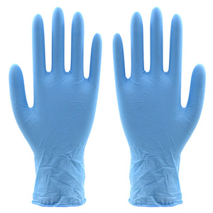 blue latex gloves