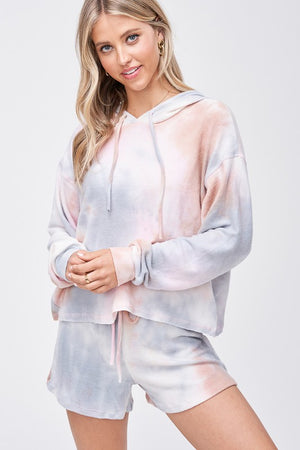 tie dye grey and pink hoddie & shorts set