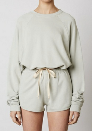 Eco friendly sage shorts  & pullover set