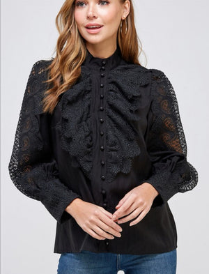 black puffy embroodery shirt