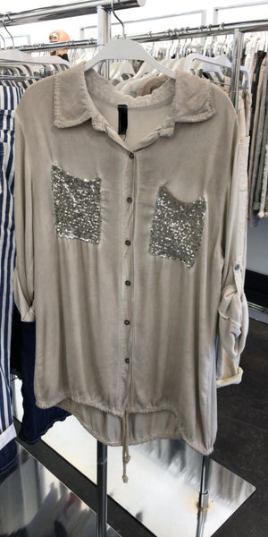 pocket  sequins tencel beige shirt