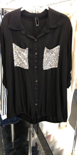 black sequins pocket tencel shirt