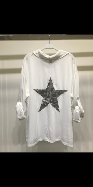 back printed stars shirt