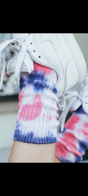 pink & purple tie dye socks