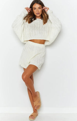 white knitted shorts set
