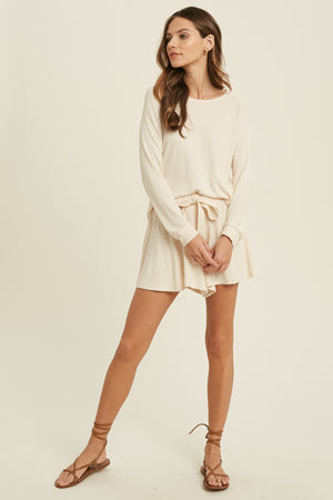 cream cozy shorts set