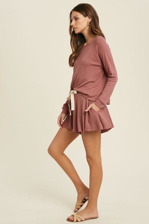 mauve cozy shorts set