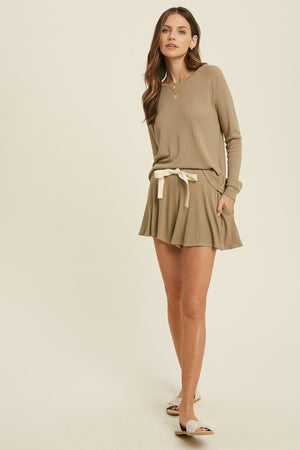 olive cozy shorts set