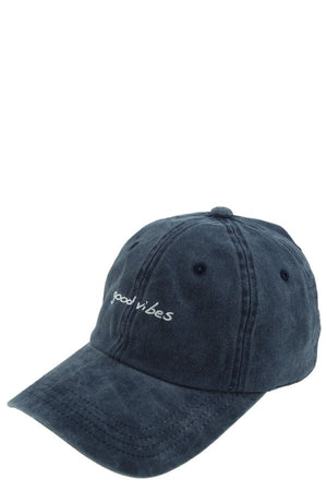 good vibes navy embroidery hat