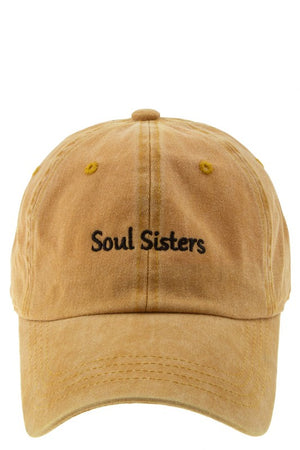 mustard soul sisters embroidery hat