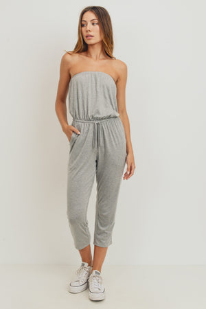 grey strapless jumpsuit