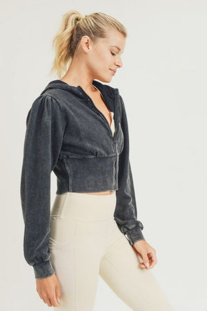 black cropped puffy shoulder hoddie 7 sept