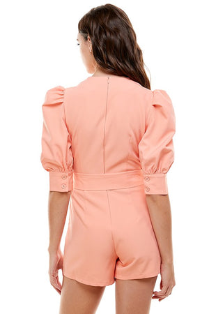 puffy sleeve belted pink romper 18 dic