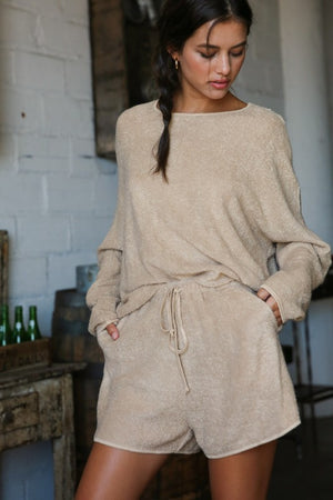 light taupe shorts set
