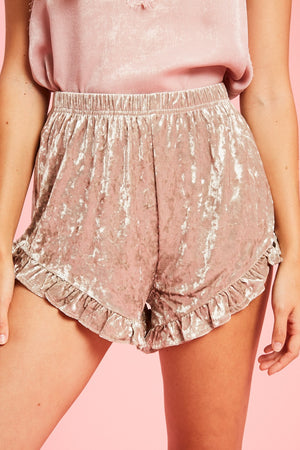 ruffled velvet shorts
