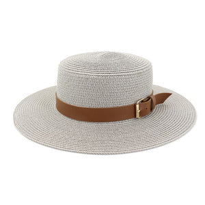 grey straw hat