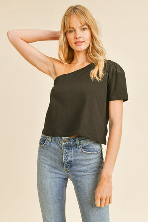 black one shoulder tshirt