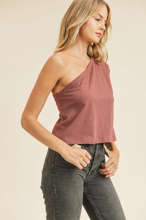 plum one shoulder tshirt