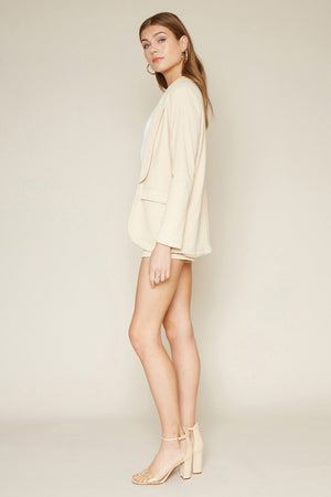 beige blazer & shorts set