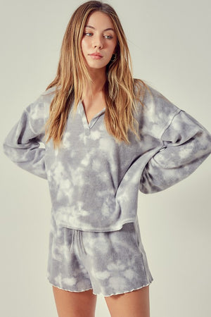 grey tie dye cozy set