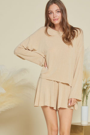 taupe loungewear soft short set 20 enero