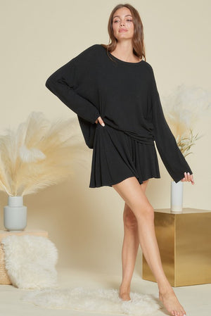 black loungewear soft short set 20 enero