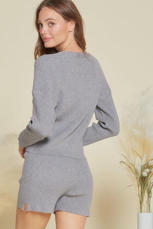 grey ribbed shorts set 20 enero