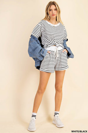striped white & Black shorts set 26 enero
