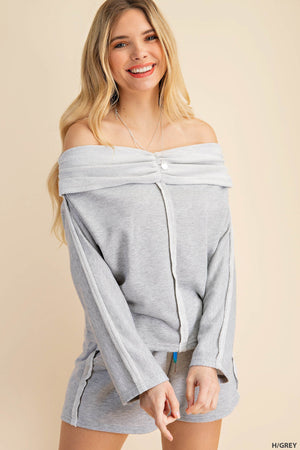 grey off shoulder shorts set 26 enero