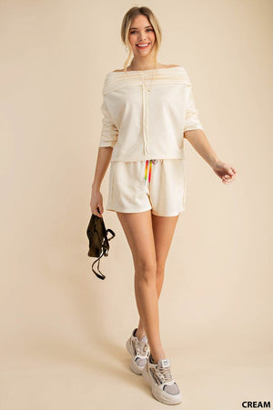 cream off shoulder shorts set 26 enero