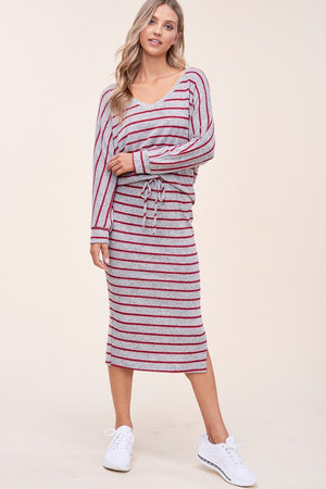burgundy & Grey striped skirt set 2 feb