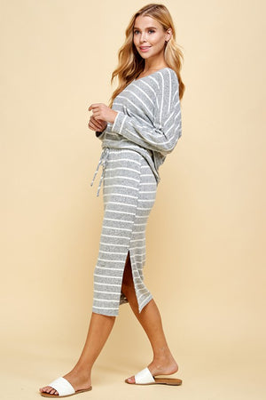 grey & Ivory striped skirt set 2 feb