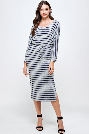 grey & navy striped skirt set 2 feb