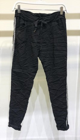 black rhinestone side stripe jogger 26 dic