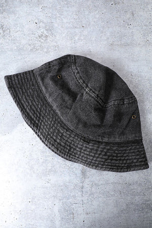 black bucket hat