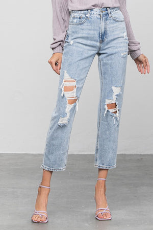 denim ripped boyfriend jeans