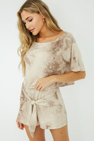 Taupe tie dye in front set