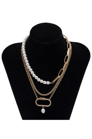 layer clip & pearls necklace