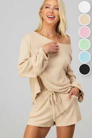 Drop shoulder knitt shorts set