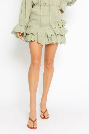 Sage ruffled skirt 9 abril