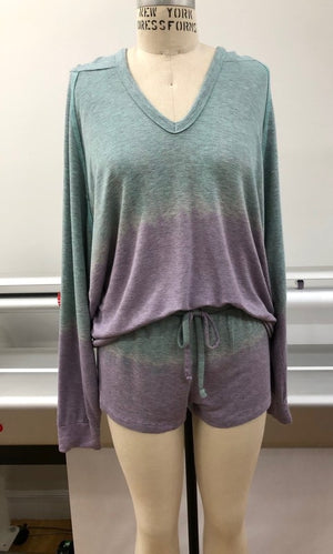 Tie dye purple hoddie shorts set