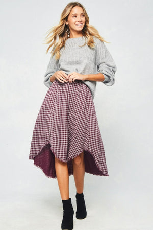 Burgundy plaid fringed skirt