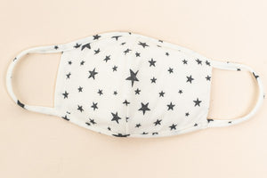 White printed stars face mask 5 julio